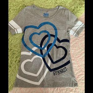 Justice Gymnast Grey Blue Shirt Girls Size 14 G13